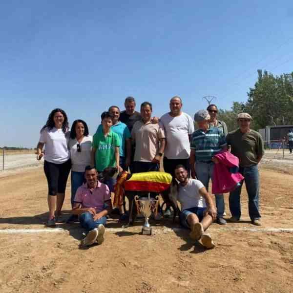 """El galgo villarrubiero """"Tímido"""", de Nacho Palomino, campeón nacional en el 34º Campeonato de España en recta de nacionales"""